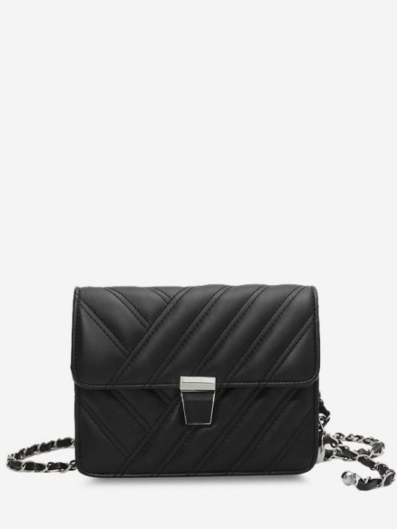 Quilted Chain-Wrapped Strap Flap Crossbody Bag - أسود