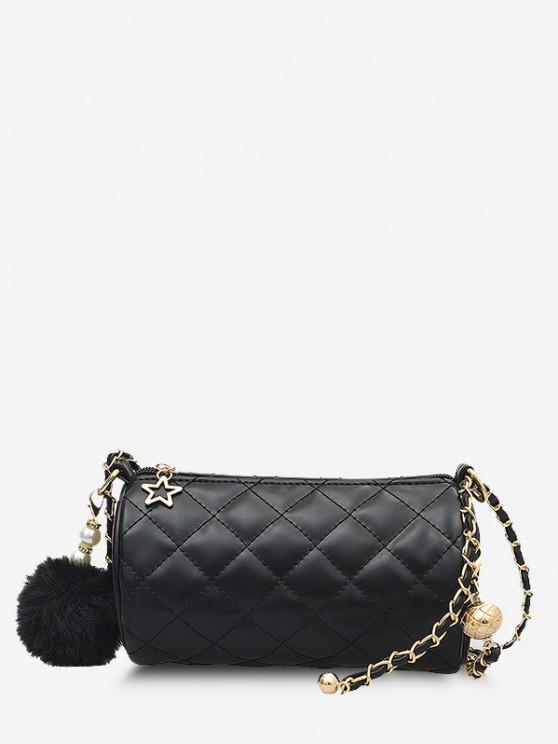 Cylinder Quilted Faux Pearl Pom Pom Shoulder Bag - أسود