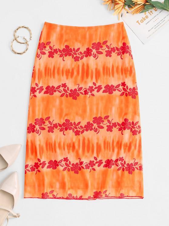 women Tie Dye Flower Mesh Midi Skirt - ORANGE L
