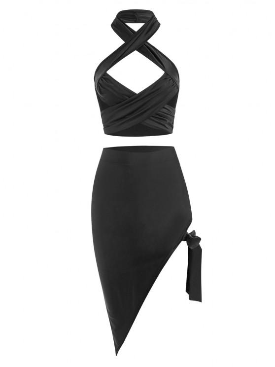 hot Cutout Criss Cross Archie Top and Tie Side Skirt Set - BLACK S