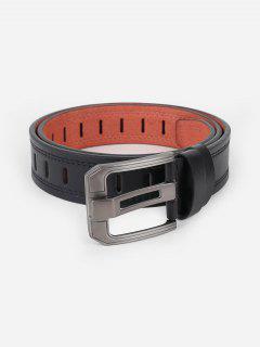 Minimalistic Faux Leather Silver Tone Buckle Belt - Black