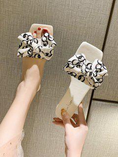 Square Toe Bowknot Vamp Low Heel Slides - White Eu 36