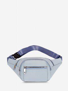 Multi Compartment Solid Nylon Bum Bag - Light Blue