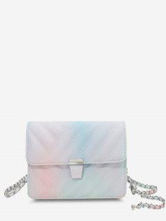 Quilted Chain-Wrapped Strap Flap Crossbody Bag - Light Pink