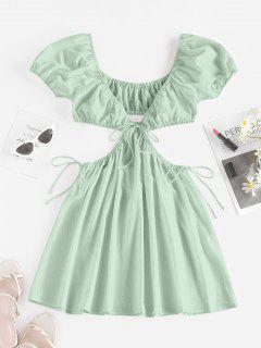 ZAFUL Cutout Tie Puff Sleeve Plunge Dress - Light Green M