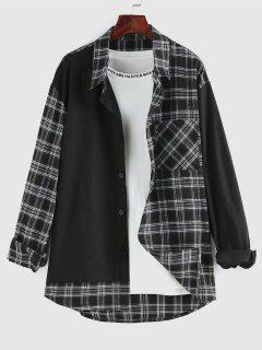 ZAFUL Plaid Spliced Pocket Patch Long Sleeve Shirt - Black M