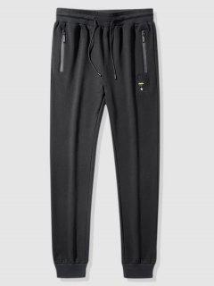 Drawstring Graphic Embroidered Sports Pants - Black S