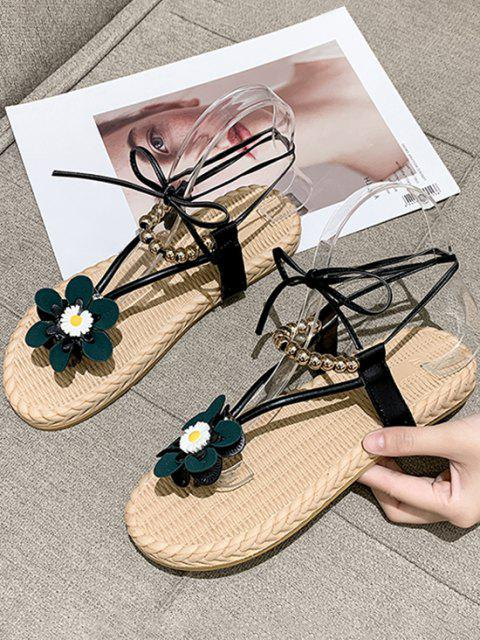 Blumen Perlen Sandalen mit Schnürung - Schwarz EU 37 Mobile