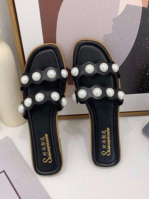 Künstliche Perle Zwei Riemen Flache Pantoffel - Schwarz EU 38 Mobile