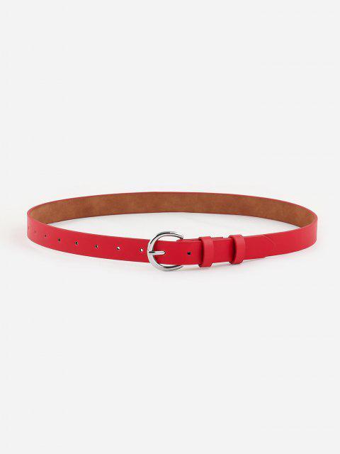 Minimalistischer Silberton-D-Schnallengürtel - Rot  Mobile