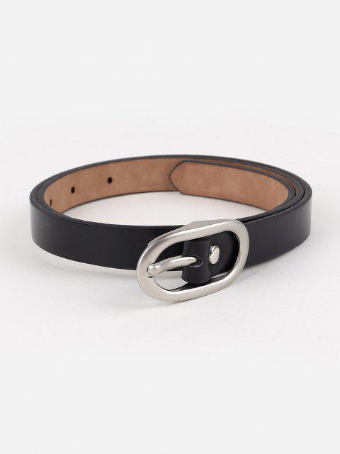 Minimalistische Silberschnalle Künstliche Ledergürtel - Schwarz  Mobile