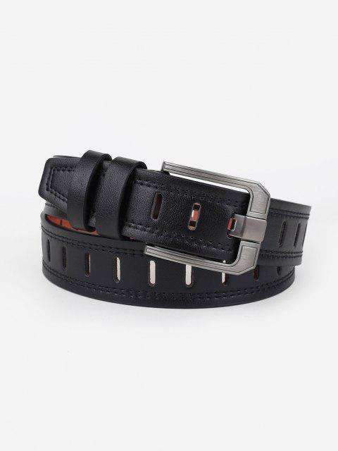 Minimalistic Künstliche Leder Silber Ton Schnalle Gürtel - Schwarz  Mobile