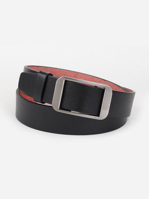 Minimalistischer Silber-Ton-Rechteck-Schnalle-Gürtel - Schwarz  Mobile