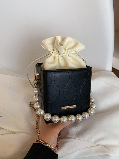 Boxy Künstliche Perle Tunnelzug Kette Bucket Taschen - Schwarz  Mobile