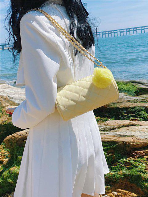 Zylinder Gesteppte Künstliche Perle Pom Pom Umhängetasche - Gelb  Mobile