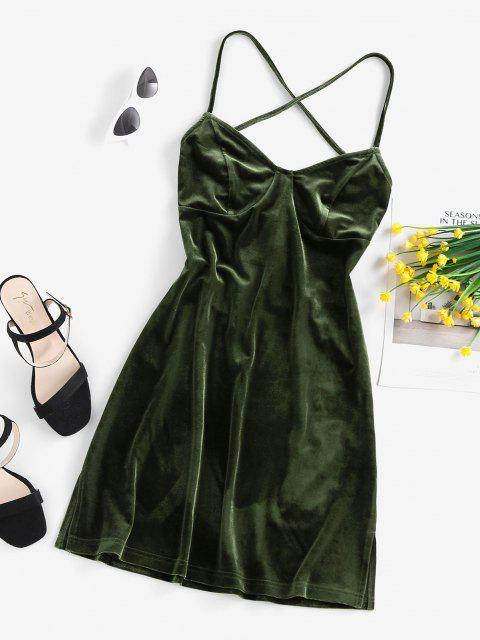 ZAFUL Kreuzes und Queres Samt Kleid mit Schnürung - Dunkelgrün S Mobile