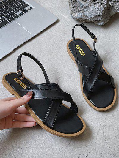 Criss Cross Strap Flat Sandals - Black Eu 37