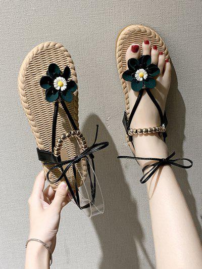 Floral Beads Lace Up Thong Sandals - Black Eu 39