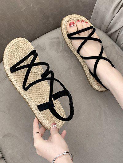 Flache Römische Sandalen Mit Riemchen - Schwarz Eu 37