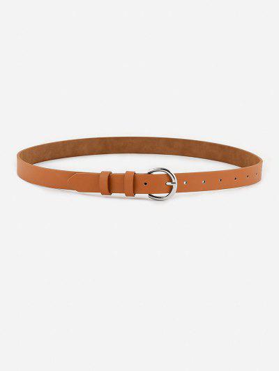 Minimalistic Silver-Tone D Buckle Belt - Tiger Orange