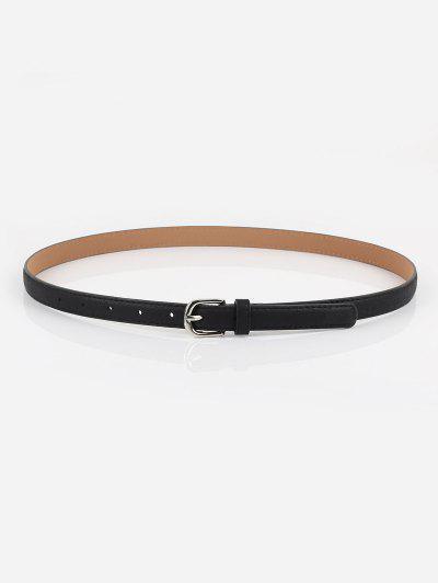 Minimalistic Slim Silver Tone Pin Buckle Belt - Black