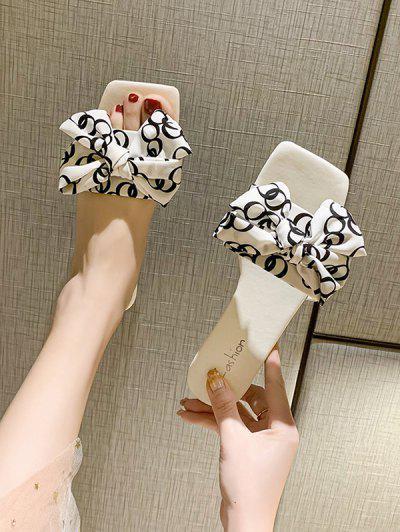Square Toe Bowknot Vamp Low Heel Slides - White Eu 38