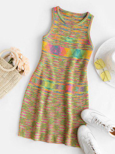 Rainbow Striped Sleeveless Slinky Sweater Dress - Multi S