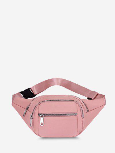 Multi Compartment Solid Nylon Bum Bag - Pink
