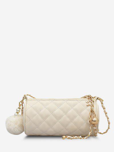 Cylinder Quilted Faux Pearl Pom Pom Shoulder Bag - White