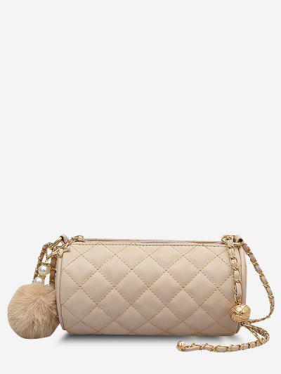 Cylinder Quilted Faux Pearl Pom Pom Shoulder Bag - Light Khaki