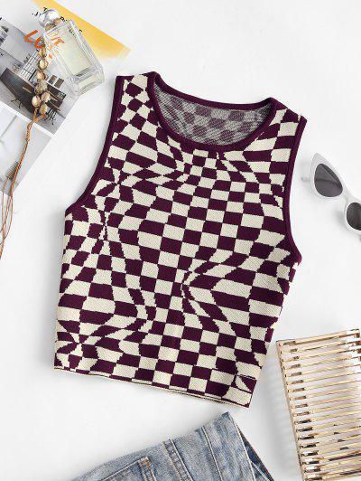 Checkerboard Print Knit Tank Top - Coffee S
