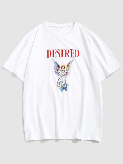 ZAFUL Camiseta De Cuello Redondo Con Estampado De Ángel - Blanco S