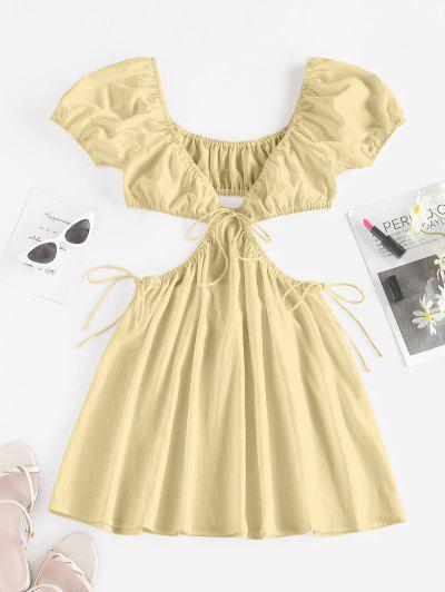 ZAFUL Cutout Tie Puff Sleeve Plunge Dress - Light Yellow M