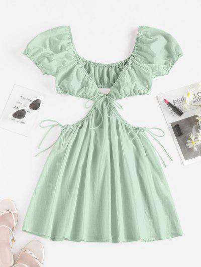 ZAFUL Cutout Tie Puff Sleeve Plunge Dress - Light Green L