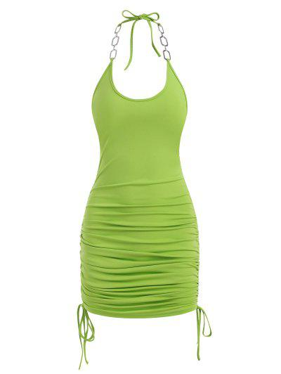 Neon Cinched Side Chains Halter Slinky Dress - Green M