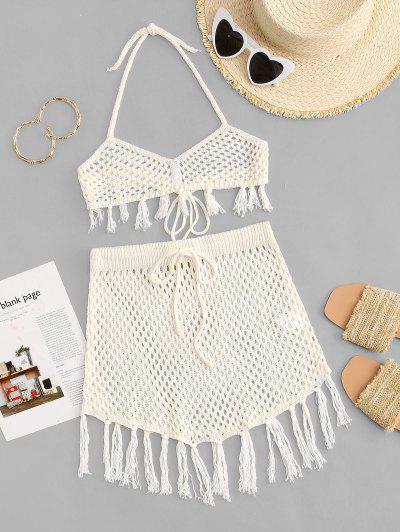 Halter Crochet Fringed Openwork Skirt Set - White S