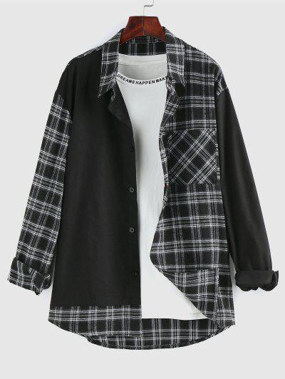 ZAFUL Plaid Spliced Pocket Patch Long Sleeve Shirt - Black L