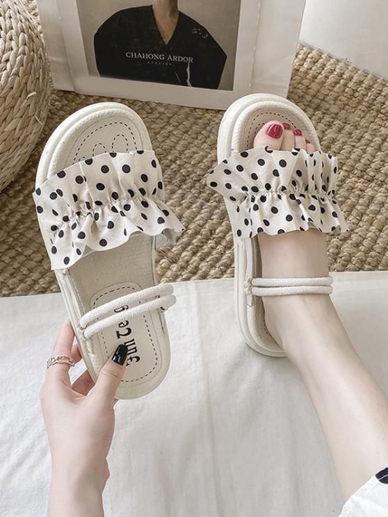 fashion Dots Ruffle Two Way Slides Sandals - BEIGE EU 37