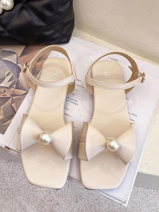 Flache Sandalen mit Schleife und Knöchelriemen - Warmweiß EU 37