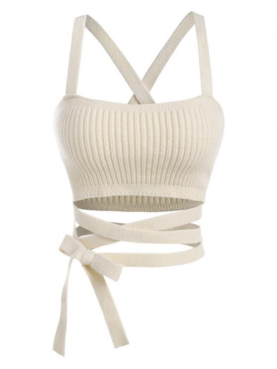 unique Midriff Flossing Knitted Crop Tank Top - LIGHT COFFEE M