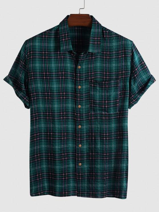 outfits Plaid Pocket Patched Short Sleeve Shirt - DEEP GREEN XL
