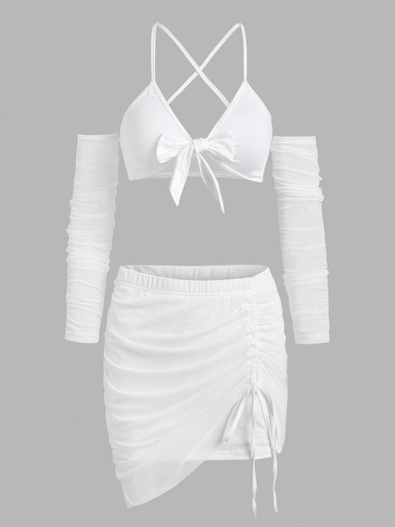 affordable Tie Front Mesh String Cutout Cinched Skirt Set - WHITE S