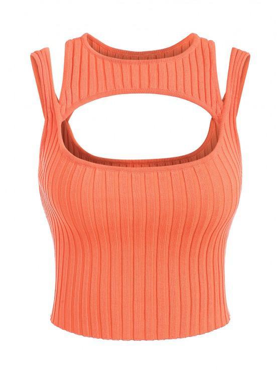 Geschnittener Gerippter Strick Pullover Weste - Orange Eine Größe