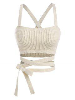Midriff Flossing Knitted Crop Tank Top - Light Coffee M