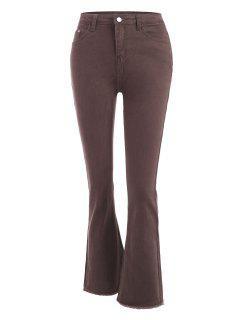 High Waisted Frayed Hem Flared Jeans - Coffee L