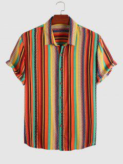 Colorful Stripe Pattern Short Sleeve Shirt - Multi L