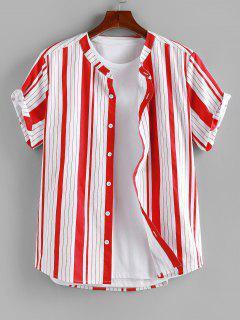 ZAFUL Vertical Striped Print Short Sleeve Shirt - Red M