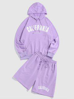 ZAFUL CALIFORNIA Letters Print Hoodie And Shorts Set - Mauve M