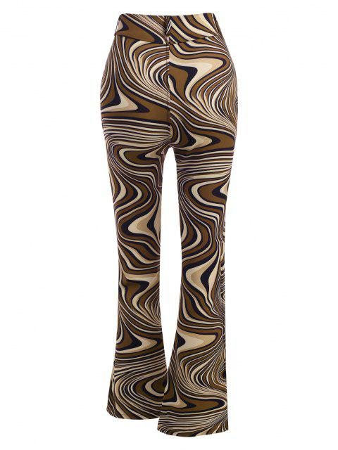 trendy Abstract Print Bootcut Pants - MULTI M Mobile