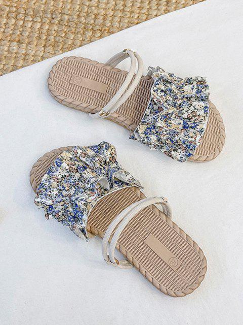 Blumen Rüschen Milchmädchen Sandalen - Blau EU 38 Mobile